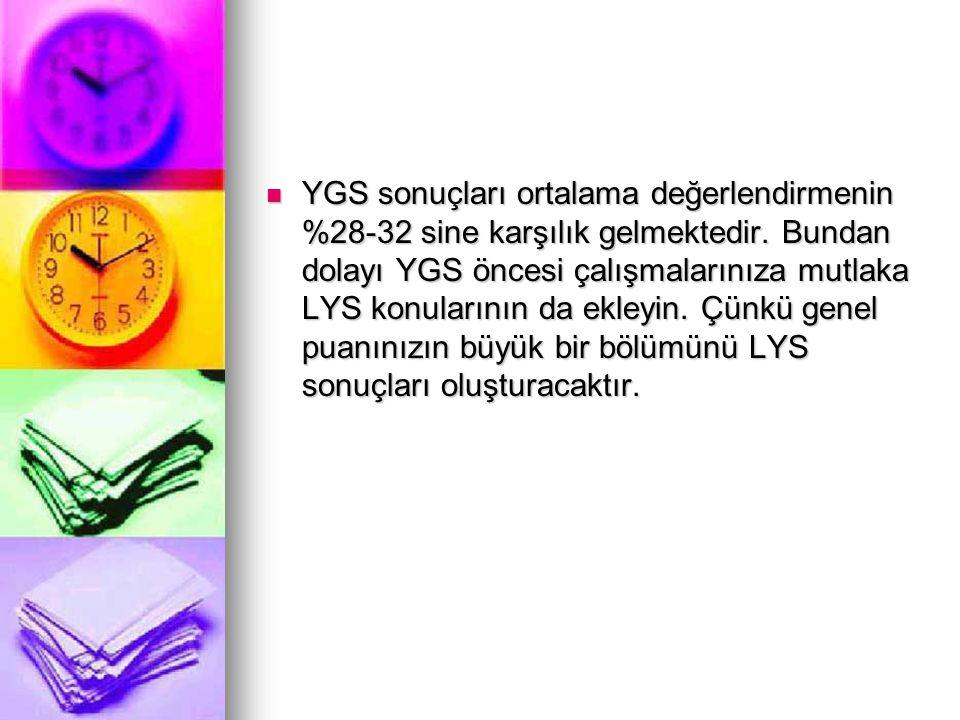 YGS sonuçları ortalama değerlendirmenin %28-32 sine karşılık gelmektedir. Bundan dolayı YGS öncesi çalışmalarınıza mutlaka LYS konularının da ekleyin.