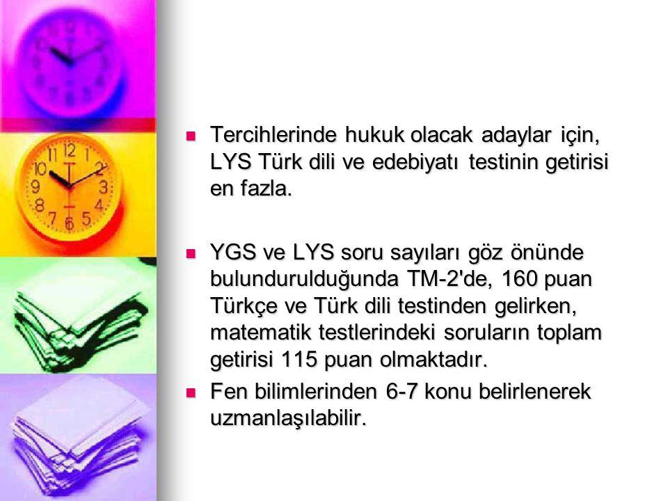 Tercihlerinde hukuk olacak adaylar için, LYS Türk dili ve edebiyatı testinin getirisi en fazla. Tercihlerinde hukuk olacak adaylar için, LYS Türk dili