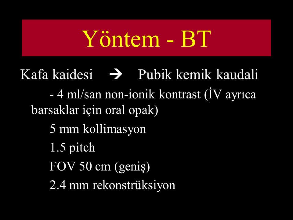 Yöntem - BT Kafa kaidesi  Pubik kemik kaudali - 4 ml/san non-ionik kontrast (İV ayrıca barsaklar için oral opak) 5 mm kollimasyon 1.5 pitch FOV 50 cm