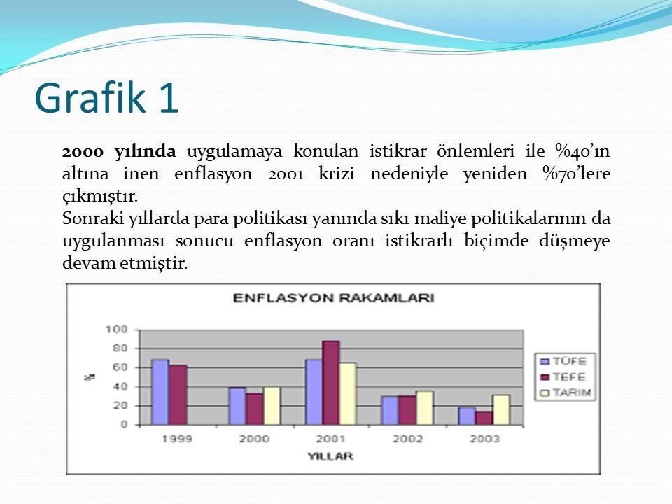 Grafik 1 2000 yılında uygulamaya konulan istikrar önlemleri ile %40'ın altına inen enflasyon 2001 krizi nedeniyle yeniden %70'lere çıkmıştır. Sonraki