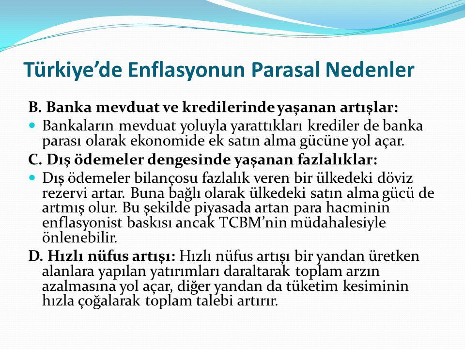 Türkiye'de Enflasyonun Parasal Nedenler B. Banka mevduat ve kredilerinde yaşanan artışlar: Bankaların mevduat yoluyla yarattıkları krediler de banka p