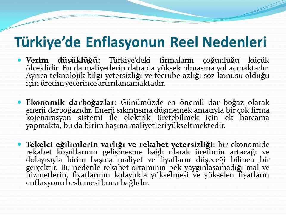 Türkiye'de Enflasyonun Reel Nedenleri Verim düşüklüğü: Türkiye'deki firmaların çoğunluğu küçük ölçeklidir. Bu da maliyetlerin daha da yüksek olmasına
