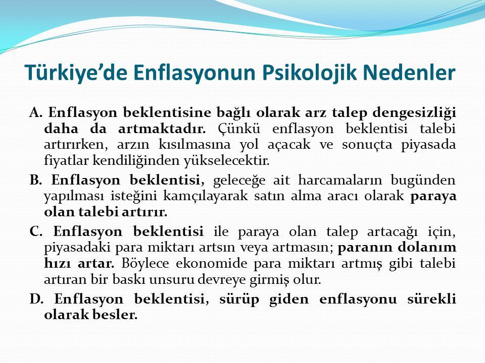 Türkiye'de Enflasyonun Psikolojik Nedenler A. Enflasyon beklentisine bağlı olarak arz talep dengesizliği daha da artmaktadır. Çünkü enflasyon beklenti