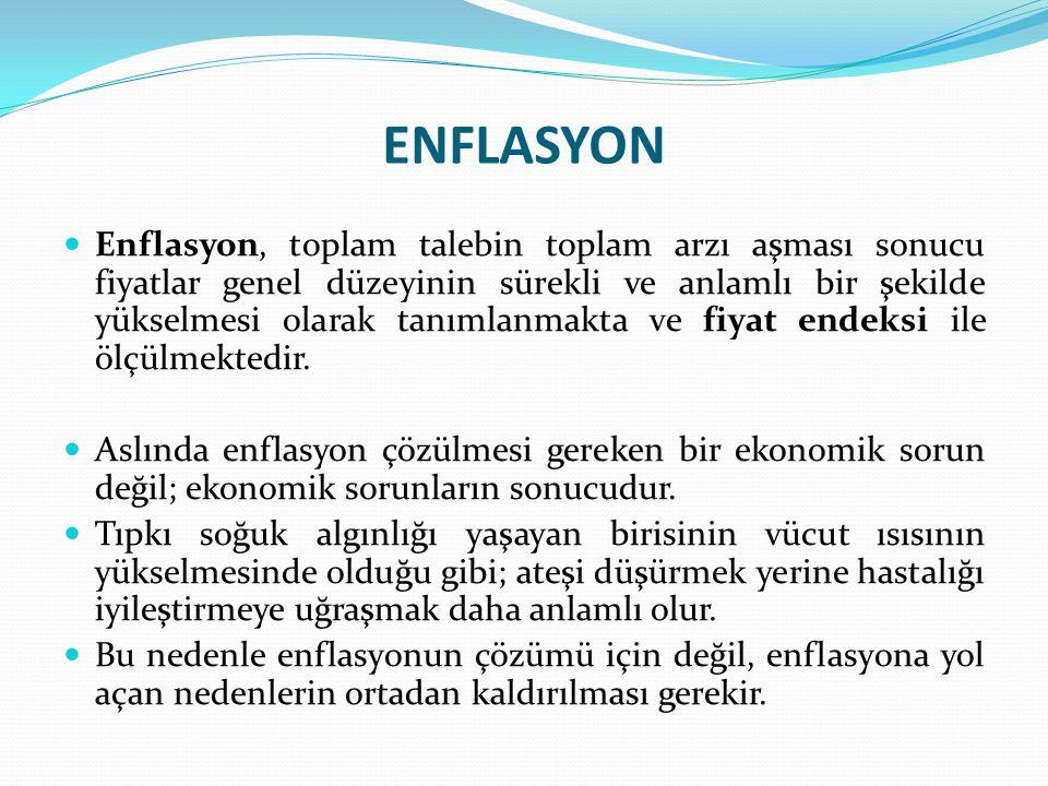 ENFLASYON Enflasyon, toplam talebin toplam arzı aşması sonucu fiyatlar genel düzeyinin sürekli ve anlamlı bir şekilde yükselmesi olarak tanımlanmakta