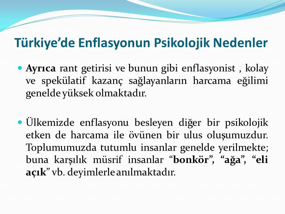 Türkiye'de Enflasyonun Psikolojik Nedenler Ayrıca rant getirisi ve bunun gibi enflasyonist, kolay ve spekülatif kazanç sağlayanların harcama eğilimi g