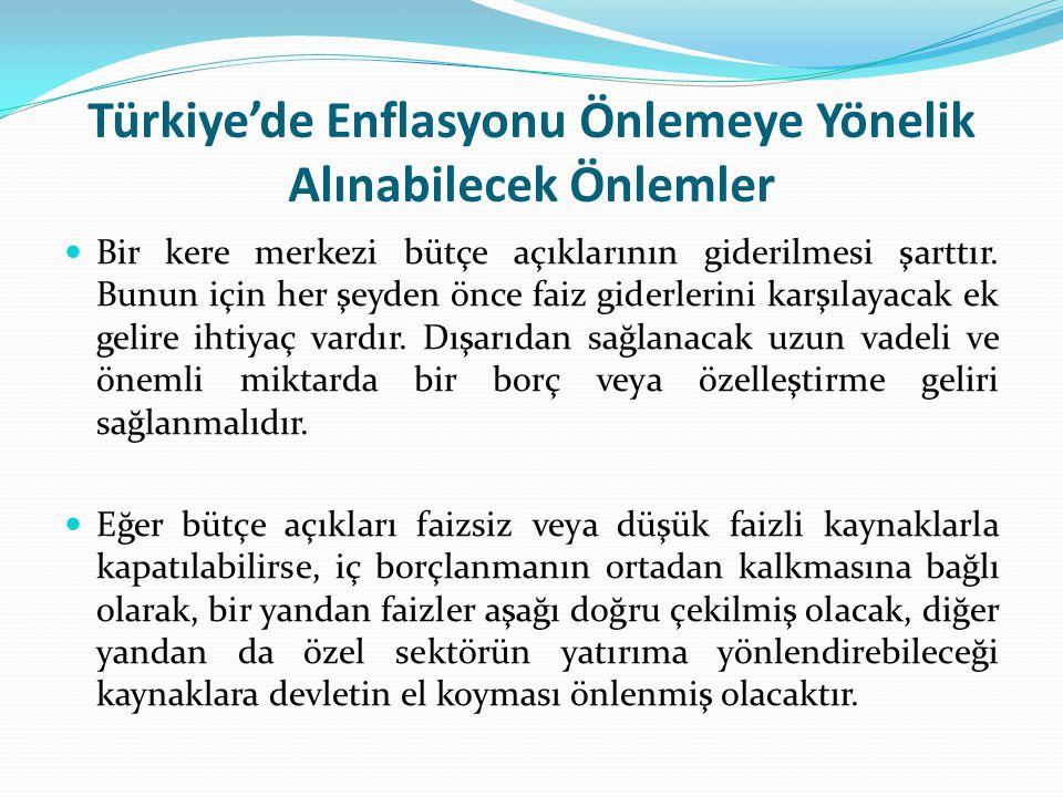 Türkiye'de Enflasyonu Önlemeye Yönelik Alınabilecek Önlemler Bir kere merkezi bütçe açıklarının giderilmesi şarttır. Bunun için her şeyden önce faiz g