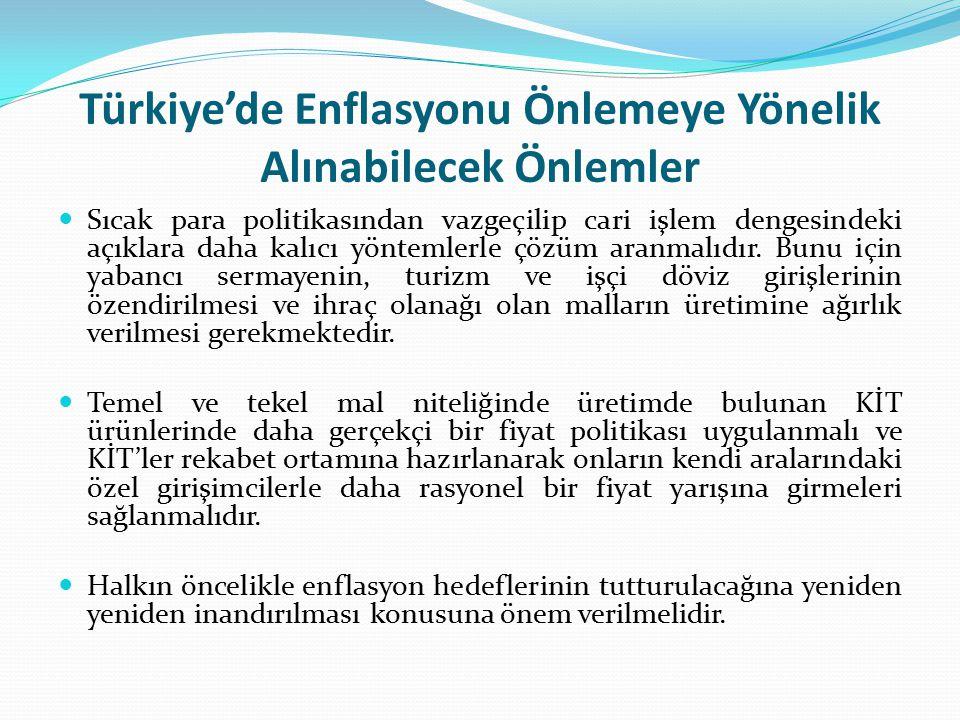 Türkiye'de Enflasyonu Önlemeye Yönelik Alınabilecek Önlemler Sıcak para politikasından vazgeçilip cari işlem dengesindeki açıklara daha kalıcı yönteml
