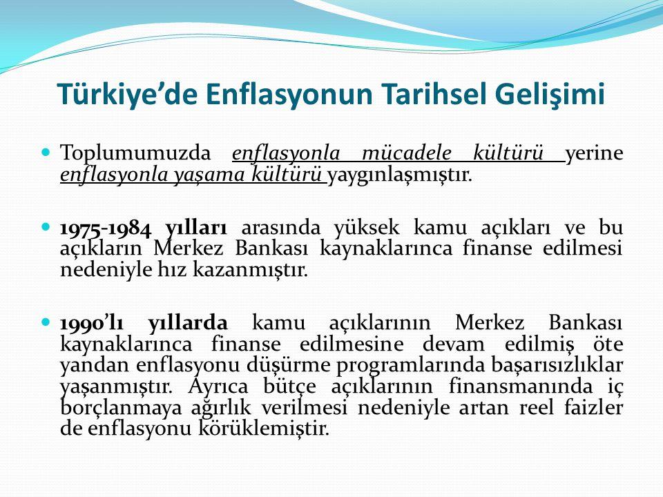 Türkiye'de Enflasyonun Tarihsel Gelişimi Toplumumuzda enflasyonla mücadele kültürü yerine enflasyonla yaşama kültürü yaygınlaşmıştır. 1975-1984 yıllar