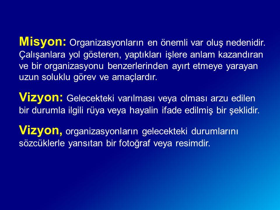 Misyon: Organizasyonların en önemli var oluş nedenidir. Çalışanlara yol gösteren, yaptıkları işlere anlam kazandıran ve bir organizasyonu benzerlerind