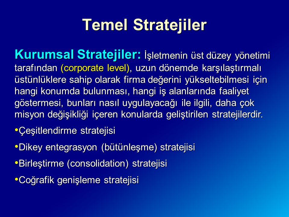 Temel Stratejiler Kurumsal Stratejiler: İşletmenin üst düzey yönetimi tarafından (corporate level), uzun dönemde karşılaştırmalı üstünlüklere sahip ol