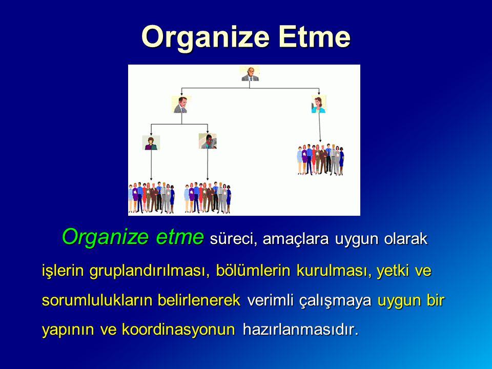 Organize etme süreci, amaçlara uygun olarak işlerin gruplandırılması, bölümlerin kurulması, yetki ve sorumlulukların belirlenerek verimli çalışmaya uy