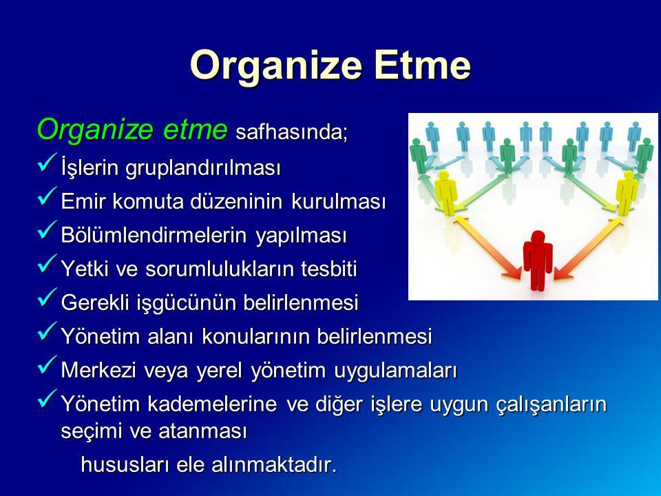 Organize etme safhasında; İşlerin gruplandırılması İşlerin gruplandırılması Emir komuta düzeninin kurulması Emir komuta düzeninin kurulması Bölümlendi