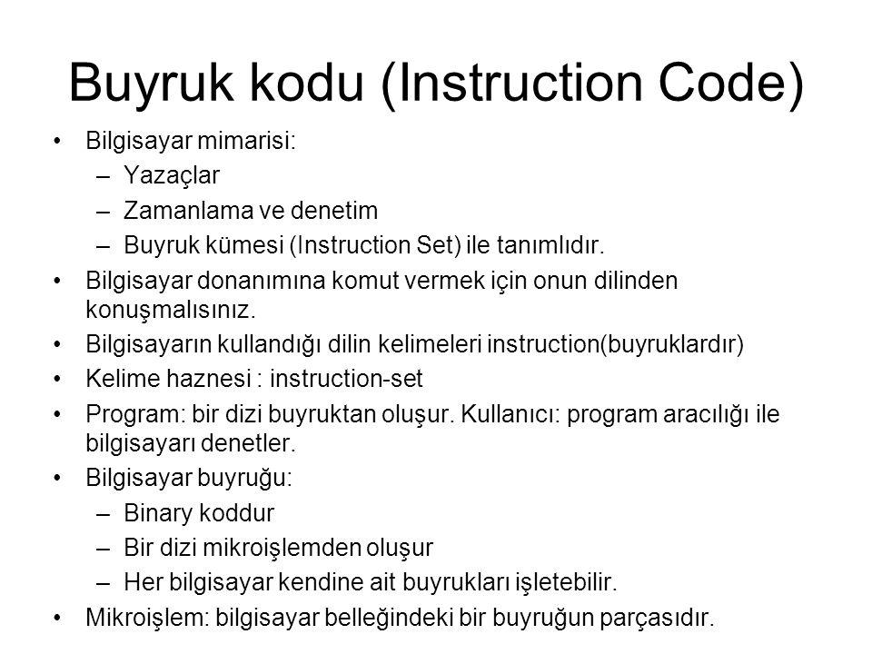 Buyruk kodu (Instruction Code) Bilgisayar mimarisi: –Yazaçlar –Zamanlama ve denetim –Buyruk kümesi (Instruction Set) ile tanımlıdır. Bilgisayar donanı