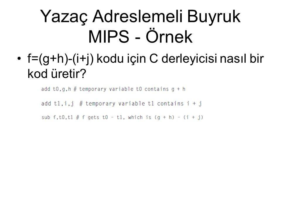 Yazaç Adreslemeli Buyruk MIPS - Örnek f=(g+h)-(i+j) kodu için C derleyicisi nasıl bir kod üretir?