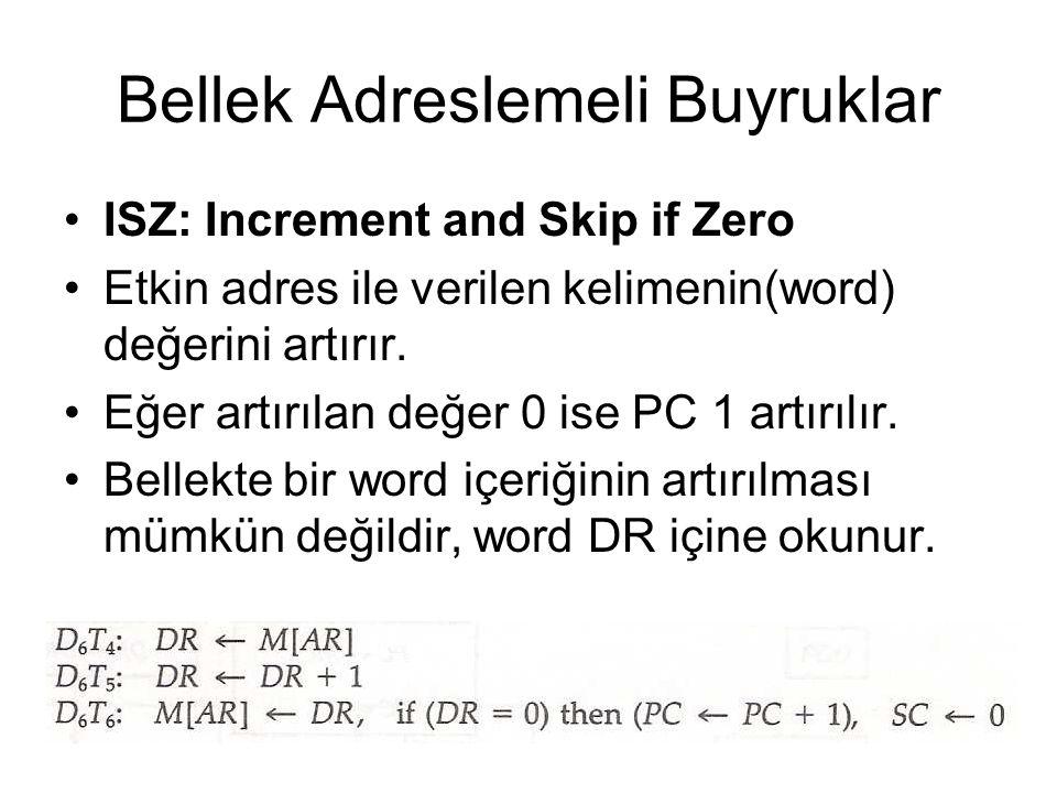 Bellek Adreslemeli Buyruklar ISZ: Increment and Skip if Zero Etkin adres ile verilen kelimenin(word) değerini artırır. Eğer artırılan değer 0 ise PC 1
