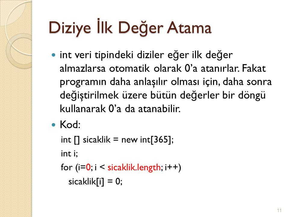 Diziye İ lk De ğ er Atama int veri tipindeki diziler e ğ er ilk de ğ er almazlarsa otomatik olarak 0'a atanırlar.