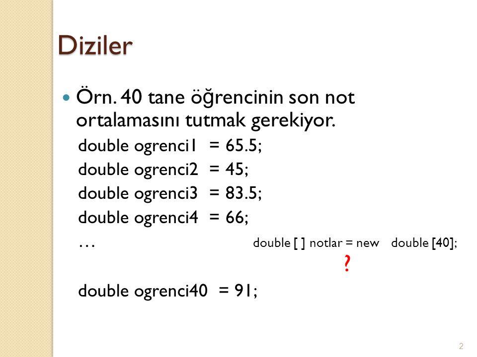 2 Diziler Örn. 40 tane ö ğ rencinin son not ortalamasını tutmak gerekiyor. double ogrenci1 = 65.5; double ogrenci2 = 45; double ogrenci3 = 83.5; doubl