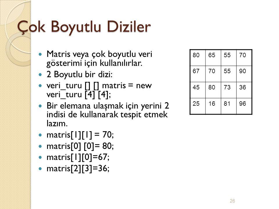 Çok Boyutlu Diziler Matris veya çok boyutlu veri gösterimi için kullanılırlar. 2 Boyutlu bir dizi: veri_turu [] [] matris = new veri_turu [4] [4]; Bir