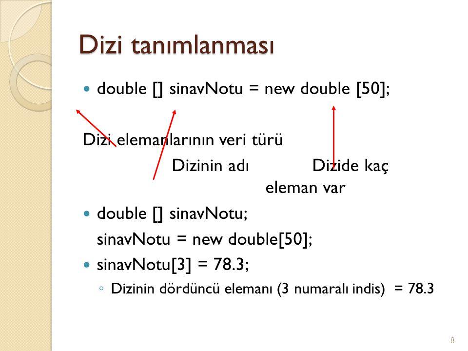 Dizi tanımlanması double [] sinavNotu = new double [50]; Dizi elemanlarının veri türü Dizinin adıDizide kaç eleman var double [] sinavNotu; sinavNotu