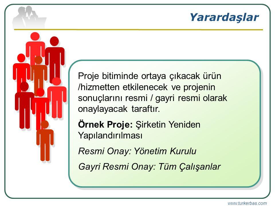 www.turkerbas.com Yarardaşlar Proje bitiminde ortaya çıkacak ürün /hizmetten etkilenecek ve projenin sonuçlarını resmi / gayri resmi olarak onaylayacak taraftır.