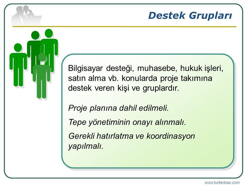 www.turkerbas.com Destek Grupları Bilgisayar desteği, muhasebe, hukuk işleri, satın alma vb.