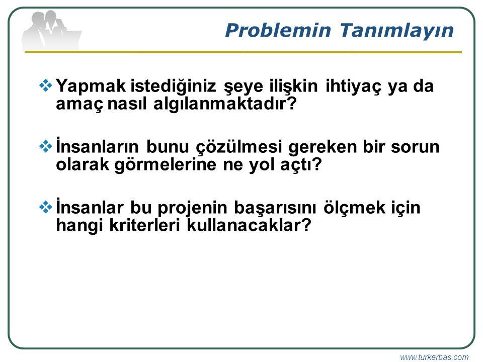 www.turkerbas.com Problemin Tanımlayın  Yapmak istediğiniz şeye ilişkin ihtiyaç ya da amaç nasıl algılanmaktadır.