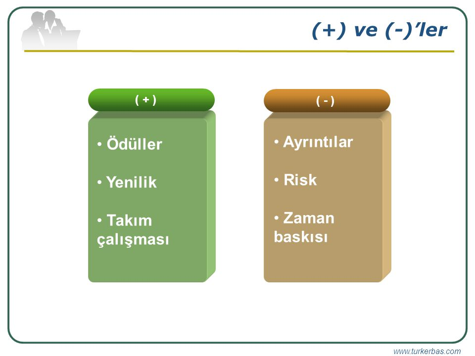 www.turkerbas.com (+) ve (-)'ler ( + ) Ödüller Yenilik Takım çalışması ( - ) Ayrıntılar Risk Zaman baskısı