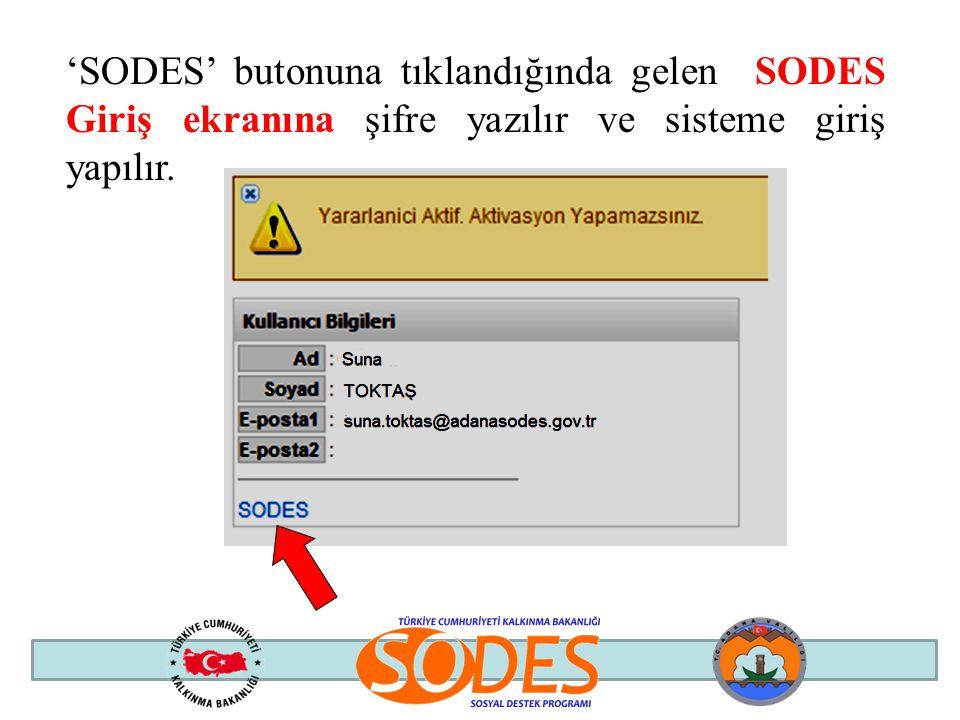 'SODES' butonuna tıklandığında gelen SODES Giriş ekranına şifre yazılır ve sisteme giriş yapılır.