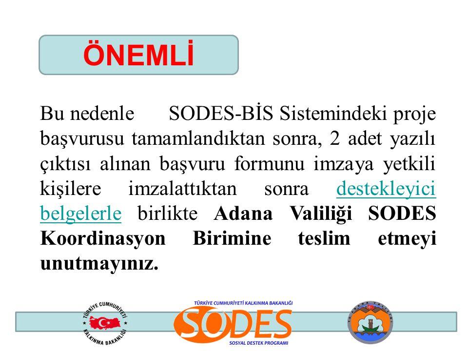 Bu nedenle SODES-BİS Sistemindeki proje başvurusu tamamlandıktan sonra, 2 adet yazılı çıktısı alınan başvuru formunu imzaya yetkili kişilere imzalattı