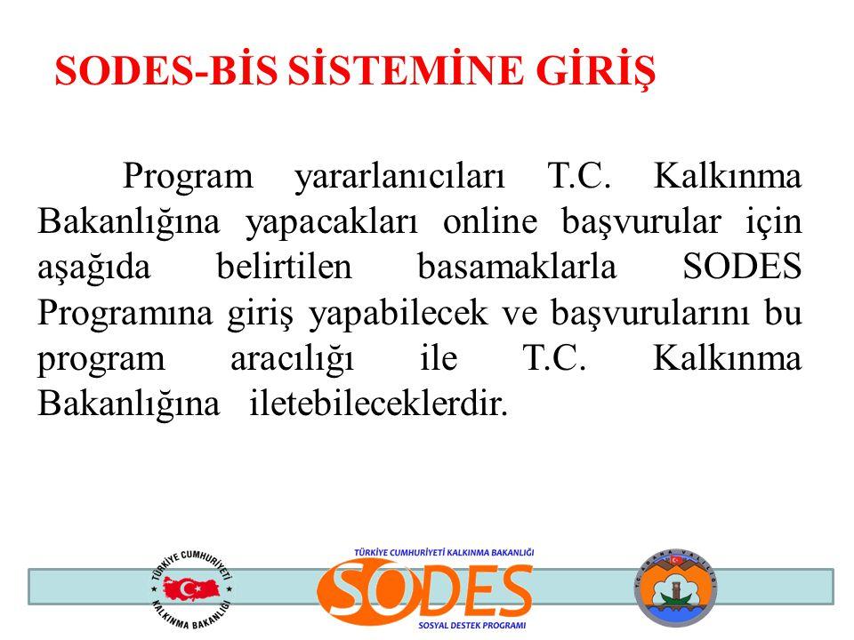 SODES-BİS SİSTEMİNE GİRİŞ Program yararlanıcıları T.C. Kalkınma Bakanlığına yapacakları online başvurular için aşağıda belirtilen basamaklarla SODES P