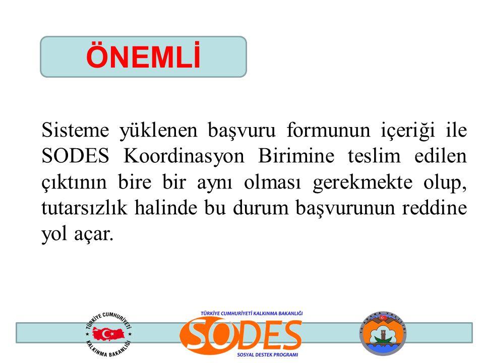 Sisteme yüklenen başvuru formunun içeriği ile SODES Koordinasyon Birimine teslim edilen çıktının bire bir aynı olması gerekmekte olup, tutarsızlık hal