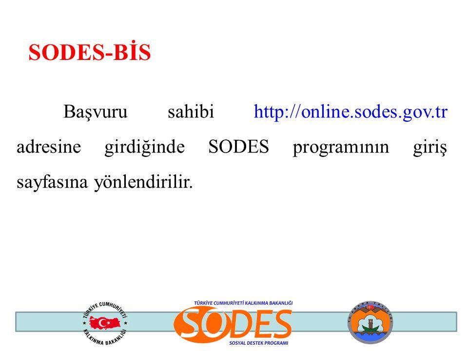 Başvuru sahibi http://online.sodes.gov.tr adresine girdiğinde SODES programının giriş sayfasına yönlendirilir. SODES-BİS