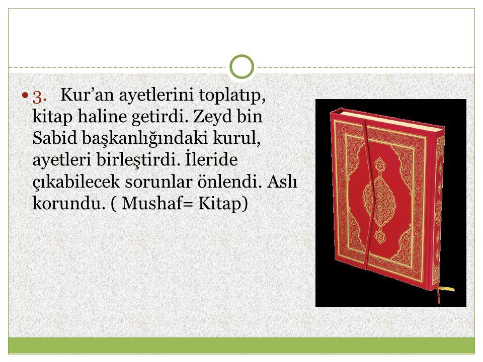 ♦ Mali alanda; a) Beyt'ül Mal denilen devlet hazinesi oluşturuldu.