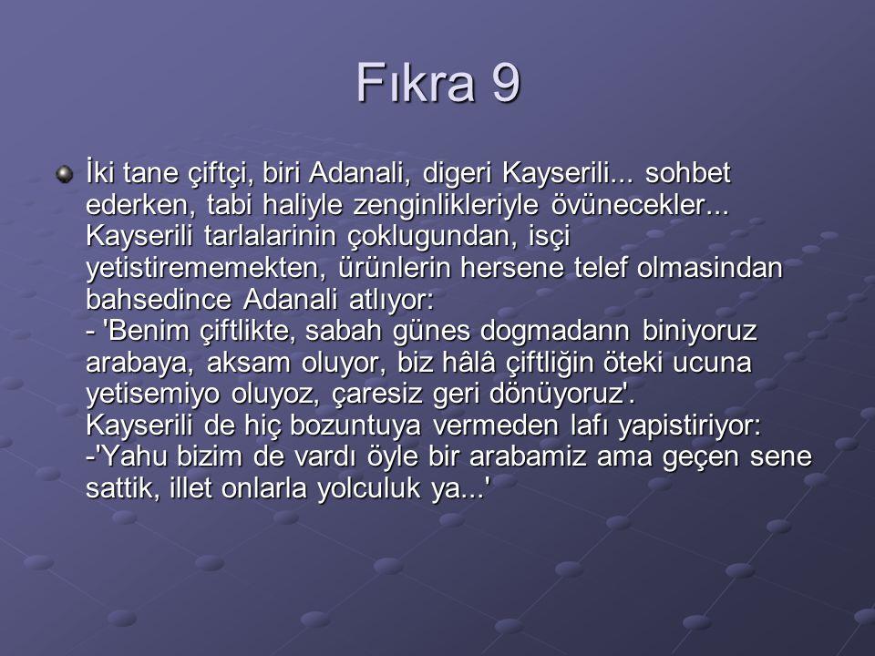 Fıkra 9 İki tane çiftçi, biri Adanali, digeri Kayserili...