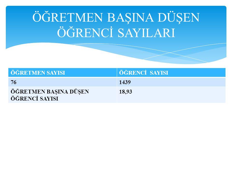 ÖĞRETMEN BAŞINA DÜŞEN ÖĞRENCİ SAYILARI ÖĞRETMEN SAYISIÖĞRENCİ SAYISI 761439 ÖĞRETMEN BAŞINA DÜŞEN ÖĞRENCİ SAYISI 18,93