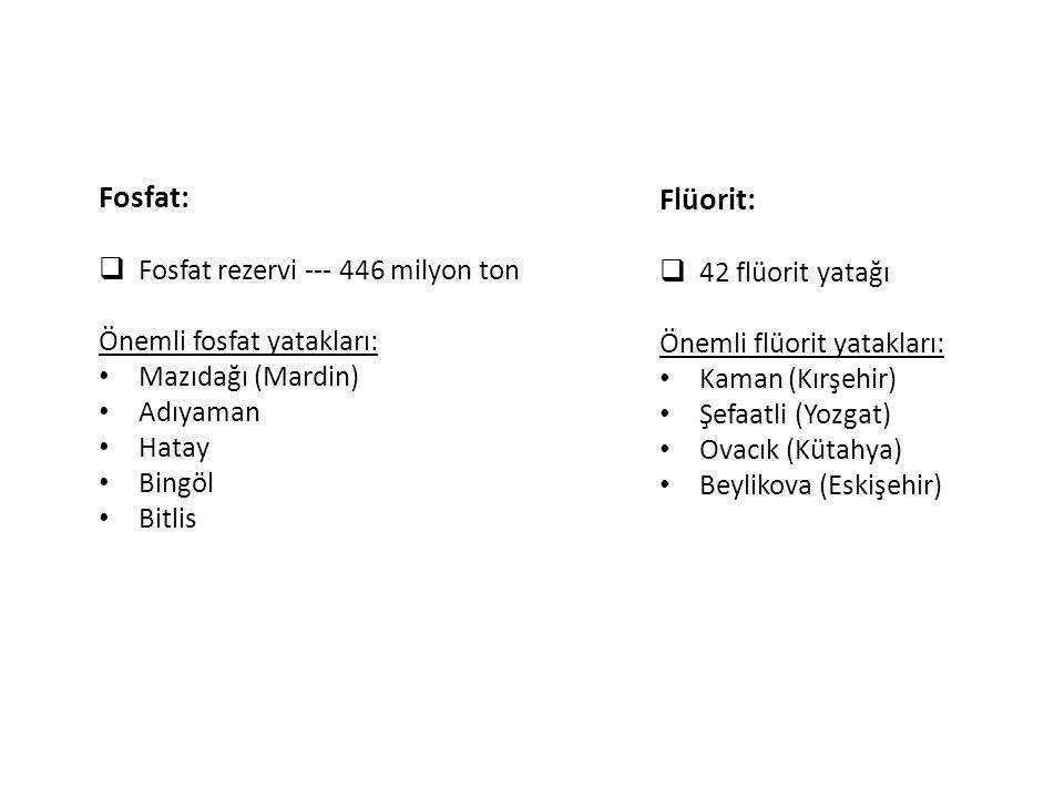 Flüorit:  42 flüorit yatağı Önemli flüorit yatakları: Kaman (Kırşehir) Şefaatli (Yozgat) Ovacık (Kütahya) Beylikova (Eskişehir) Fosfat:  Fosfat reze