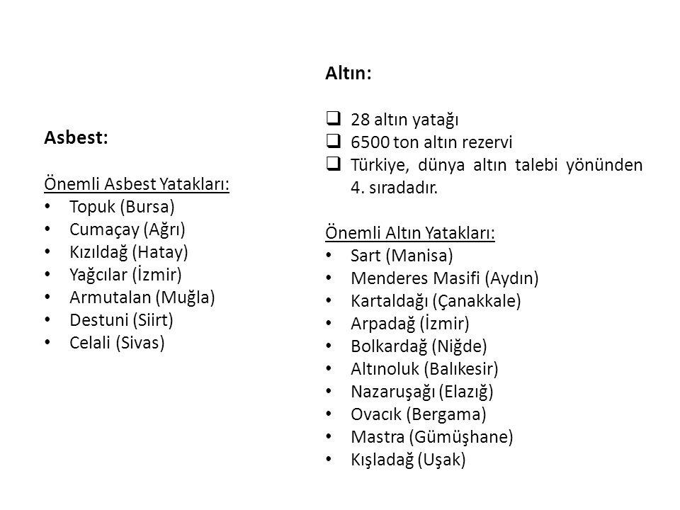 Asbest: Önemli Asbest Yatakları: Topuk (Bursa) Cumaçay (Ağrı) Kızıldağ (Hatay) Yağcılar (İzmir) Armutalan (Muğla) Destuni (Siirt) Celali (Sivas) Altın
