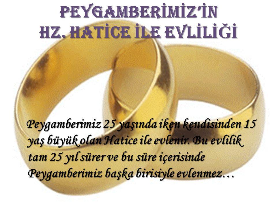 PEYGAMBER İ M İ Z' İ N HZ. HAT İ CE İ LE EVL İ L İĞİ P eygamberimiz 25 yaşında iken kendisinden 15 yaş büyük olan Hatice ile evlenir. Bu evlilik tam 2