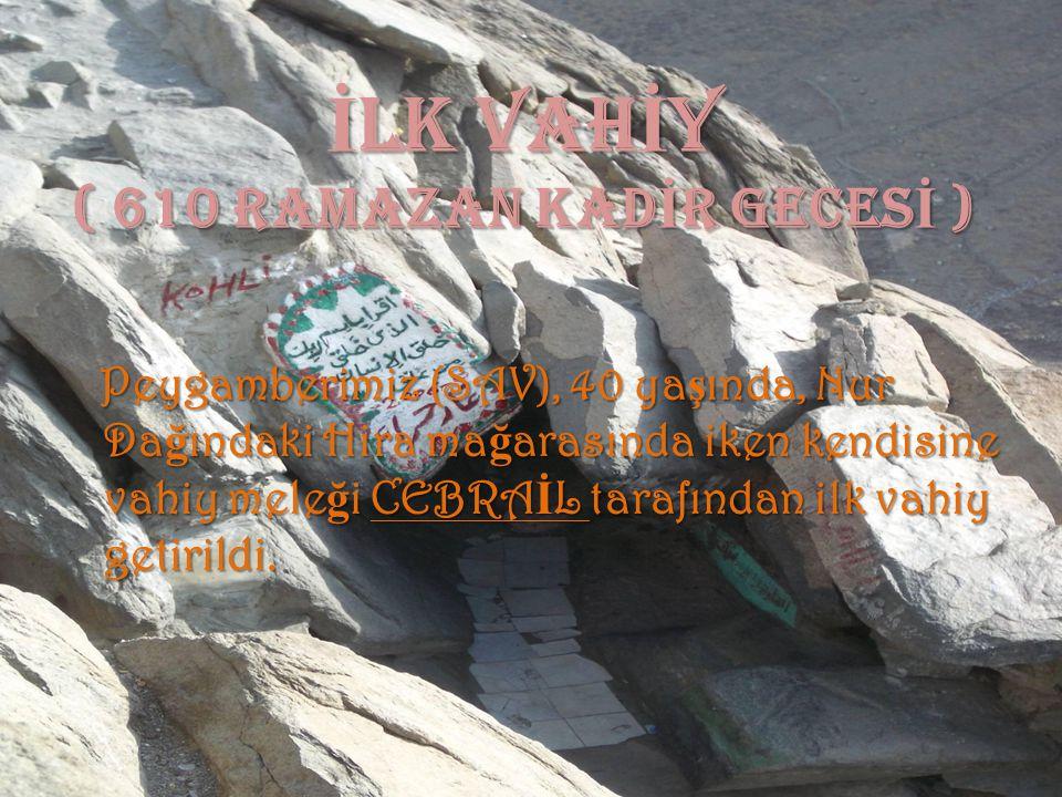 İ LK VAH İ Y ( 610 ramazan kad İ r geces İ ) Peygamberimiz (SAV), 40 yaşında, Nur Dağındaki Hira mağarasında iken kendisine vahiy meleği CEBRAİL taraf