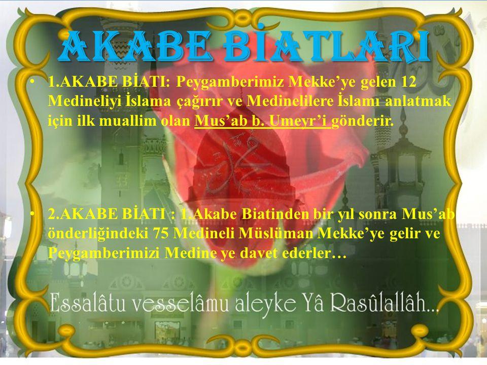 AKABE B İ ATLARI 1.AKABE BİATI: Peygamberimiz Mekke'ye gelen 12 Medineliyi İslama çağırır ve Medinelilere İslamı anlatmak için ilk muallim olan Mus'ab