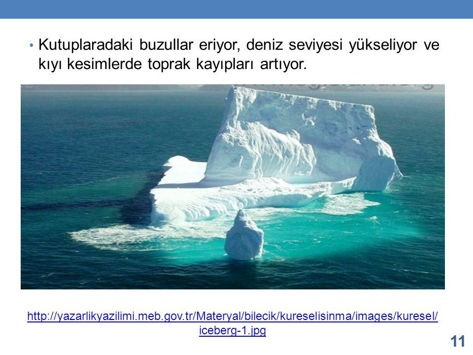Kutuplaradaki buzullar eriyor, deniz seviyesi yükseliyor ve kıyı kesimlerde toprak kayıpları artıyor. 11 http://yazarlikyazilimi.meb.gov.tr/Materyal/b