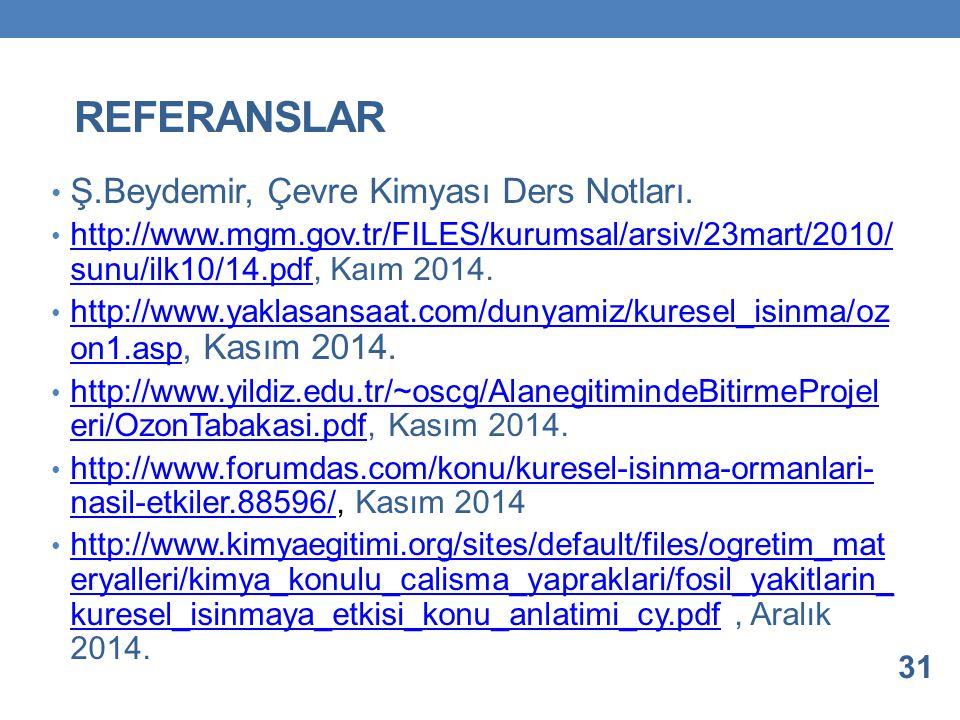 REFERANSLAR Ş.Beydemir, Çevre Kimyası Ders Notları. http://www.mgm.gov.tr/FILES/kurumsal/arsiv/23mart/2010/ sunu/ilk10/14.pdf, Kaım 2014. http://www.m