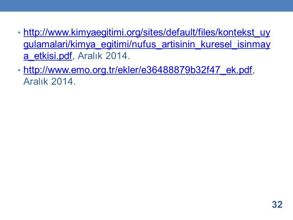 http://www.kimyaegitimi.org/sites/default/files/kontekst_uy gulamalari/kimya_egitimi/nufus_artisinin_kuresel_isinmay a_etkisi.pdf, Aralık 2014. http:/