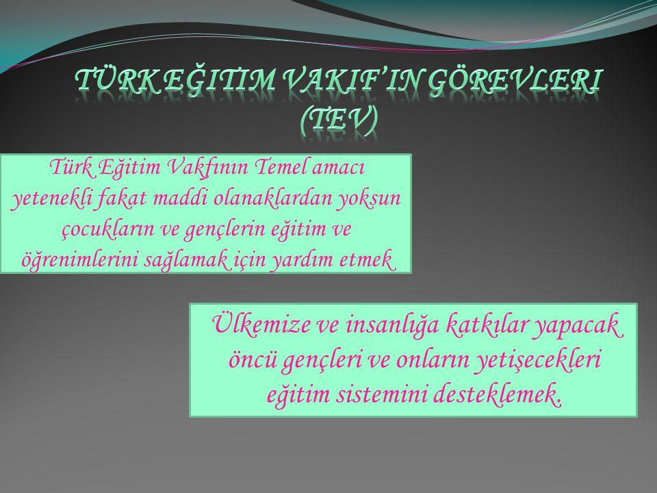 TEV'in açılımı Türk Eğitim Vakfıdır. Türkiye'de devlet tarafından verilen temel eğitime katkıda bulunmak amacıyla faaliyet gösteren sivil toplum örgüt