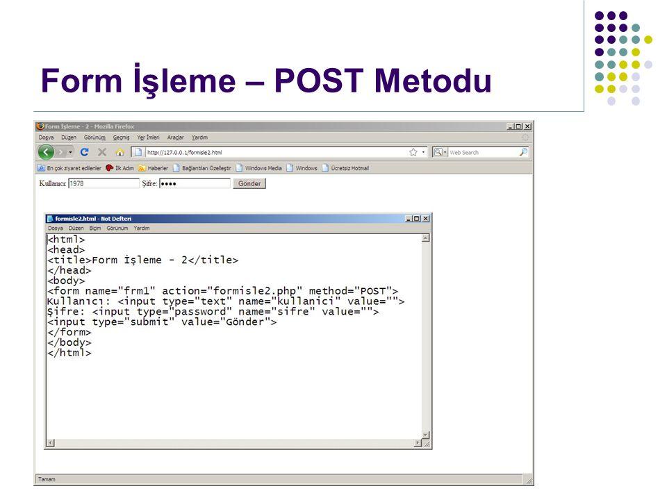 Form elemanlarına document.formadi.nesneadi.ozellik Nesnenin özellik ve metodlarına erişilir.