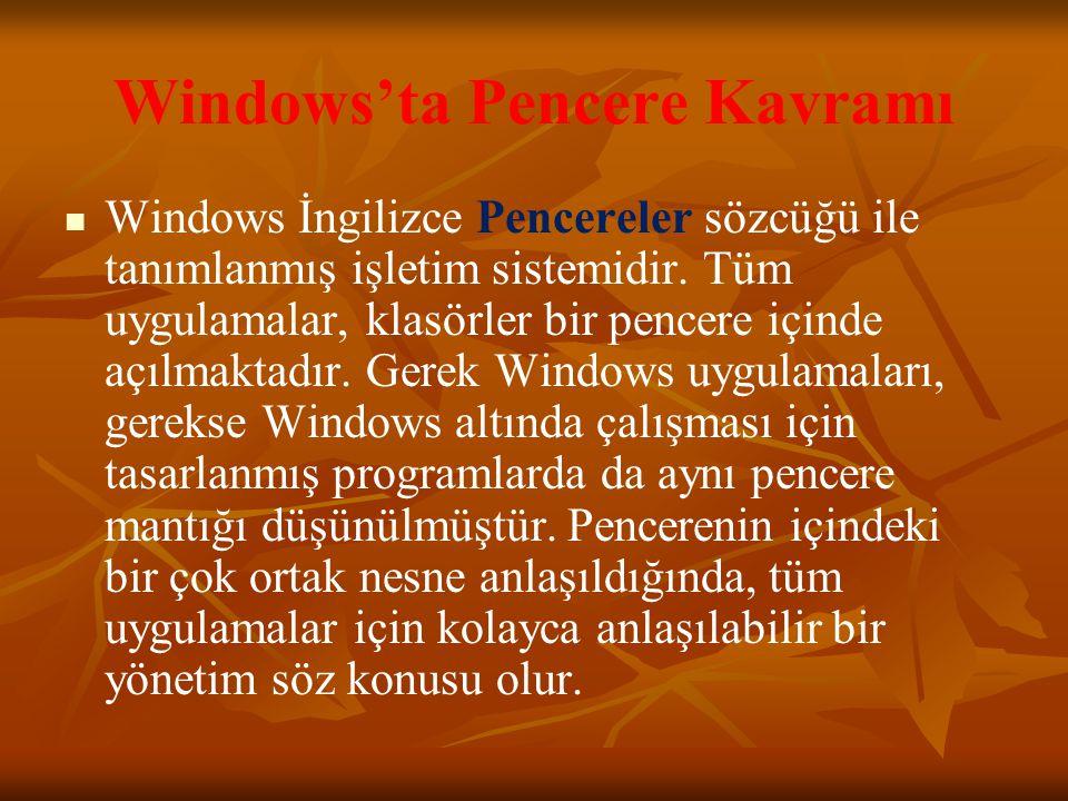 Windows'ta Pencere Kavramı Windows İngilizce Pencereler sözcüğü ile tanımlanmış işletim sistemidir.