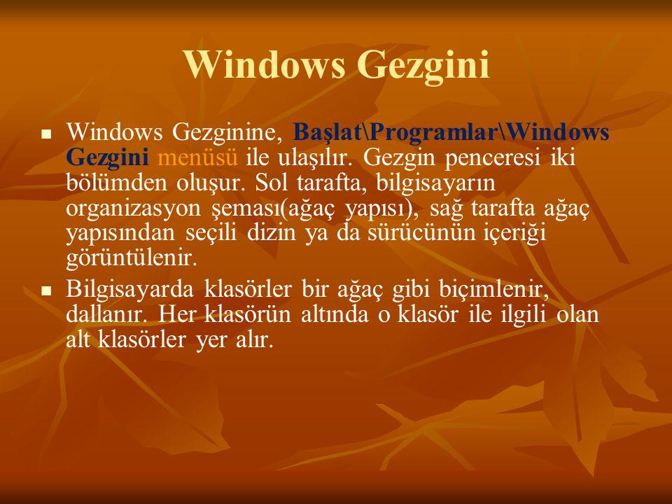 Windows Gezgini Windows Gezginine, Başlat\Programlar\Windows Gezgini menüsü ile ulaşılır.