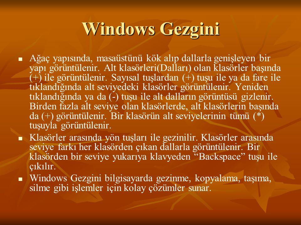 Windows Gezgini Ağaç yapısında, masaüstünü kök alıp dallarla genişleyen bir yapı görüntülenir.