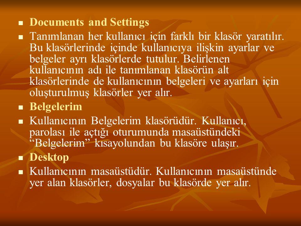 Documents and Settings Tanımlanan her kullanıcı için farklı bir klasör yaratılır.