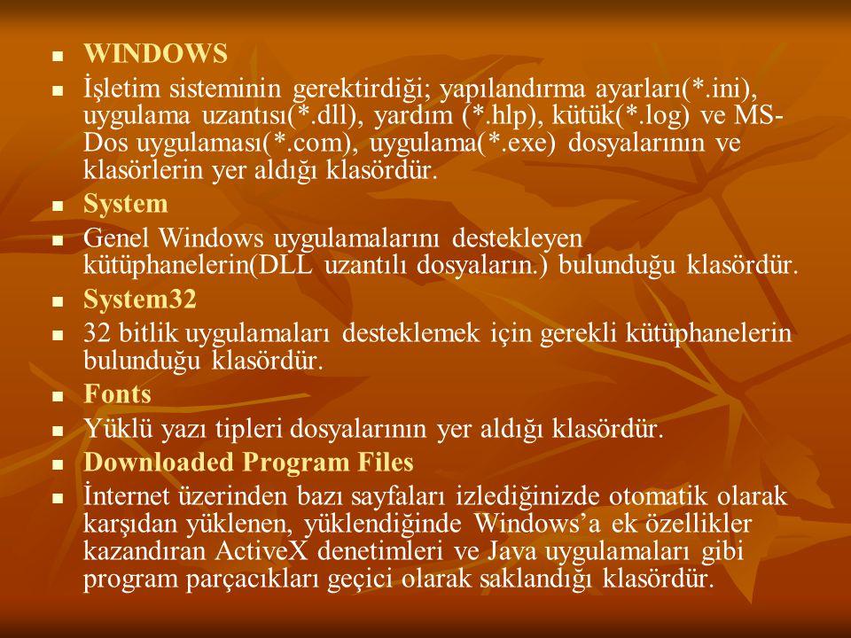WINDOWS İşletim sisteminin gerektirdiği; yapılandırma ayarları(*.ini), uygulama uzantısı(*.dll), yardım (*.hlp), kütük(*.log) ve MS- Dos uygulaması(*.com), uygulama(*.exe) dosyalarının ve klasörlerin yer aldığı klasördür.